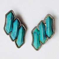 Triple Turquoise Earring - 60s Clip Earrings - Festival Jewelry - Boho SW Jewelry - Vintage Accessories - FREE SHIPPING