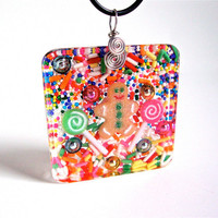 Christmas necklace - candy resin necklace - gingerbread man necklace - christmas jewelry - holiday