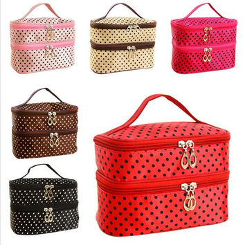 Women's Double Layer Small Dots Cosmetic Bag Makeup Tool Storage Bag Multifunctional Storage
