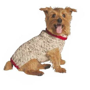 Oatmeal Cable Knit with Red Trim Dog Sweater