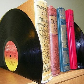 Record made into Bookends Book Ends for Office or by retrograndma