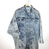 long acid washed denim jacket 80s vintage batwing cocoon jean jacket medium