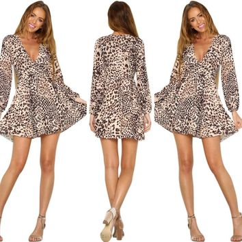 Stylish Casual Sexy Leopard Deep V Pleated Long Sleeve Club Set [18172706842]