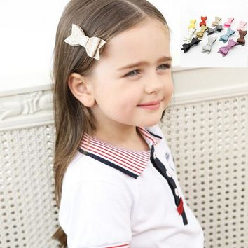 Synthetic Leather kids Hair Clips Fashion Grips Glitter BowKnot Hairpins girls princess Barrettes Hair Accessories J40