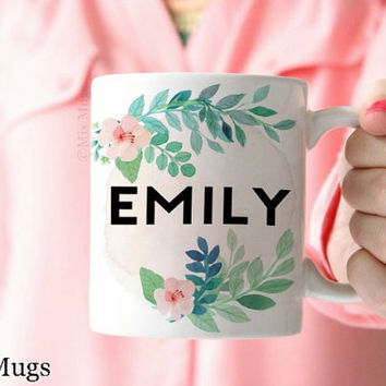 Personalized Coffee Mugs, Custom Name Mugs, Floral Tea Mug, Unique Coffee Mugs, Coffee Mugs for Her, Wedding Gift, Personalized Gifts (P111)