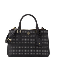 Robinson Perforated Double-Zip Tote Bag, Black/Birch - Tory Burch