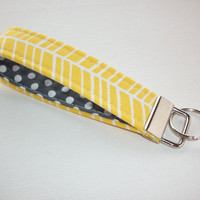 Key FOB / KeyChain / Wristlet key strap - yellow herringbone with white polka dots on gray - gift for her under 10