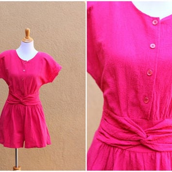 Vtg 80's romper bright pink elastic waist button up short sleeves Size Large Comfortable breezy easy pockets