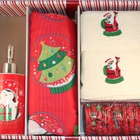 Santa's Globe Shower Curtain Set w/ hooks, lotion pump and 2 hand towels