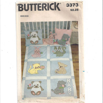 Butterick 3373 Pattern for Baby Quilt, Stuffed Animals, Pillows with Transfer, Applique, From 1980s, FACTORY FOLDED, UNCUT. Vintage Pattern