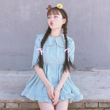 2018 summer new Japanese Solid Ruffles blue purple girls sweet cute dress Half sleeve Peter pan Collar Student Lolita dress