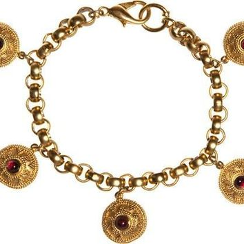 Greek Motif Five Charms Bracelet with Garnets - 7849