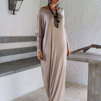 Long Sleeve Oblique Shoulder Ruched Maxi Dress