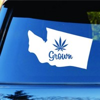 Dabbledown Decals Washington Grown State Shape Weed Leaf Car Truck Window Windshield Lettering Decal Sticker Decals Stickers JDM Drift Dub Vw Lowered Jdm Fresh Detailed Stance Fitment 4x4