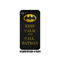 Keep Calm and Call Batman, custom cell phone case, Iphone 4/4s case, original design
