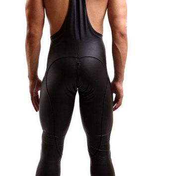 Men Sexy Cool Leotard Siamese Motorcycle Suit One Piece Elastic Faux Leather