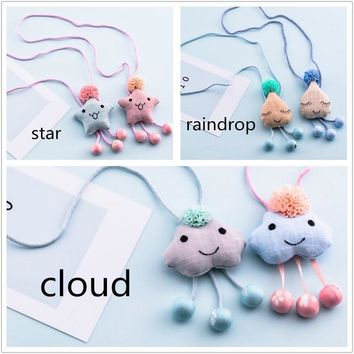 1Pcs Fashion Korean Handmade Cute Star Clouds Tassel Necklace kids baby Girl's Christmas Gifts Unique Children Lovely Jewelry