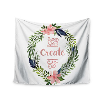 "KESS Original ""Create"" Typography Watercolor Wall Tapestry"