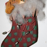 christmas tree ornament stocking and packages by rocksntwigs