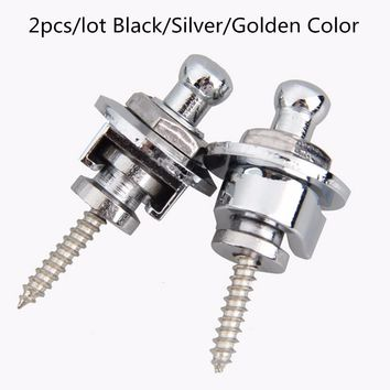 2pcs lot Guitar Strap Lock Metal Button Straplock Hold Tight Easy Fix & Remove Screw For Acoustic Electric Bass Guitars 3 Colors