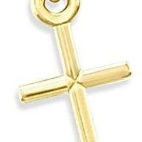 14K Yellow Gold Small Crucifix Cross Charm Pendant