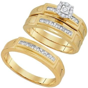 10kt Yellow Gold His & Hers Round Diamond Solitaire Matching Bridal Wedding Ring Band Set 1/4 Cttw - FREE Shipping (US/CAN)