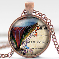 Hot Air Balloon Necklace, Vintage Style Hot Air Balloon Jewelry, Hot Air Balloon Pendant, Hot Air Balloon Charm (527)