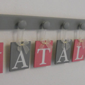 Pink and Gray Wooden Baby Nursery Wall Letters Sign, Name NATALIE and 7 Pegs Board Painted Grey