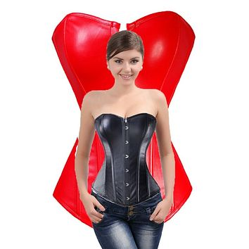 b4d35a0c060f0 Faux Leather Steampunk Lace Up Over Bust Corset