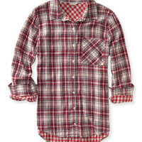 Long Sleeve Lined Plaid Woven Shirt