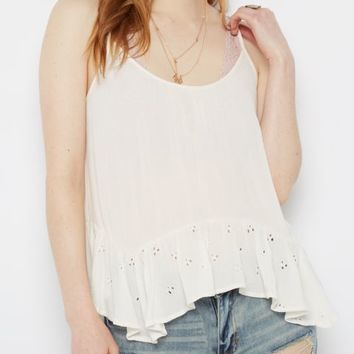 Eyelet Gauze Lattice Hanky Cami