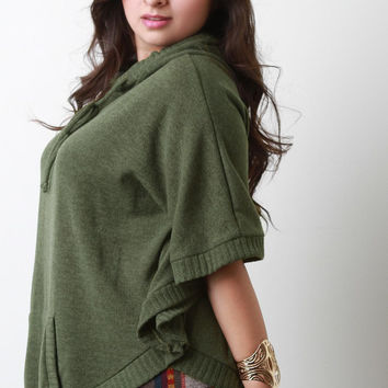 Hooded Pointed Knit Poncho Top