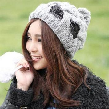 PEAPUNT Casual Wool Patchwork Skullies & Beanies Chic Women's Paillette Bowknot Ball Woolen Hat For Woman