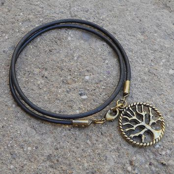 Wisdom - Dark Brown Leather Wrap BraceletTree Of Life
