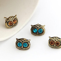 ER019 4 Color Hot fashion Trendy Personality Cute Vintage Big Eye Owl Crystal Stud Earrings for women jewelry Bijoux