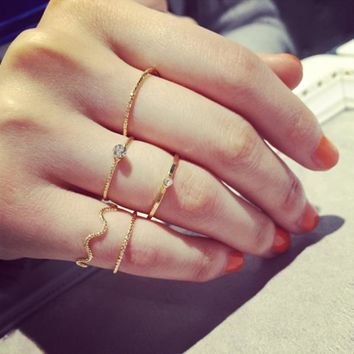 RscvonM 5Pcs/Set Punk Rock Gold Stack Plain Band Midi Mid Finger Knuckle Rings Set for Women Mid Finger Ring Thin Ring
