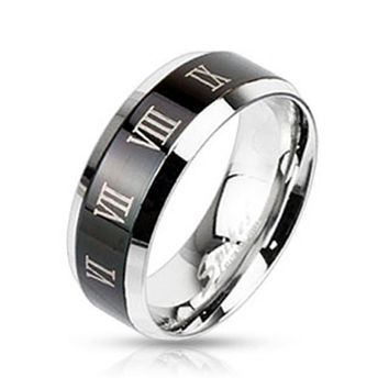 Center Black IP with Roman Numerals Beveled Edge Band Ring Stainless Steel