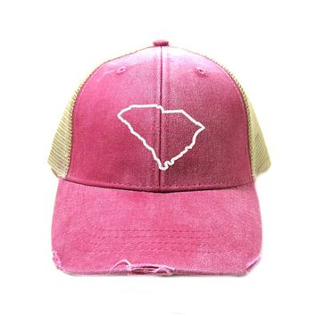 South Carolina Hat - Distressed Snapback Trucker Hat - South Carolina State Outline - Many Colors Available