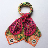 100X100 Silk Square Scarf Women Scarves Floral Retro Palace Summer Foulard Multifunctional Bandana Brand New