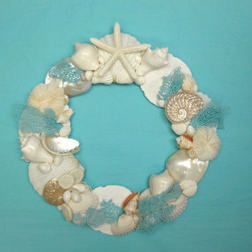 "Beach Decor - Seashell Wreath with Hand-Painted Natural Sea Fans - 13""-15"" diameter"