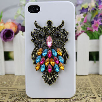 Cute Brass Owl with White Hard Case Cover For Apple iPhone 4, iPhone 4g,iPhone 4s C031