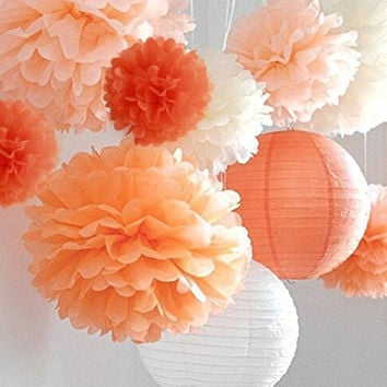 "LifeGlow Crafts™ Pom Poms -12Pcs of 10"" 12"" 14"" 3 Colors Tissue Paper Flowers, Tissue Paper Pom Poms, Wedding Decor, Party Decor, Pom Pom Flowers, Tissue Paper, Tissue Paper Flowers Kit, Pom Poms Craft, Wedding Pom Poms, Pom Poms Decoration (orange)"