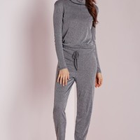 Missguided - Long Sleeve Ribbed Drawstring Jumpsuit Grey