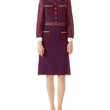 Gucci Long-Sleeve GG Macrame Dress w/ Satin Collar and Cuffs