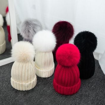2017 Autumn and Winter Fox Hair Pompons Ball Casual Beanies Women Crochet Knitting Wool Cap Female Outdoor Thick Warm Hats