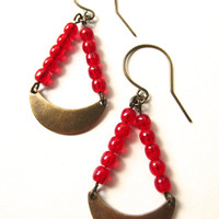 Red Earrings Earrings Brass Crescent Earrings Brass Jewelry Dangle Earrings Red Jewelry Christmas Earrings Holiday Jewelry Handmade Jewelry