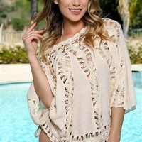 Sexy Beige Sheer Crochet Mid Sleeve Top Swimsuit Cover Up