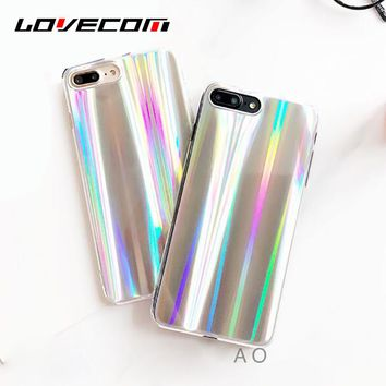LOVECOM Glossy Hologram Iridescent Soft TPU Case Coque For iPhone 7 6 6S Plus Rainbow Shining Mobile Phone Cases Back Cover
