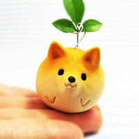 "The Shiba Inu figurine of Ceramics ""The Shiba ball type 1""  Shiba is the Japanese dog.    Animal sculpture"