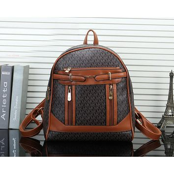 MICHAEL KORS MK Newest Popular Women Daypack School Bag Leather Backpack Coffee